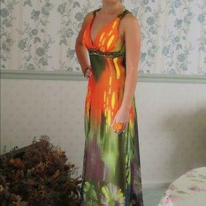 Orange Floral Prom Dress